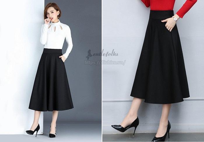 Chân váy chữ a dài kết hợp với áo gì?