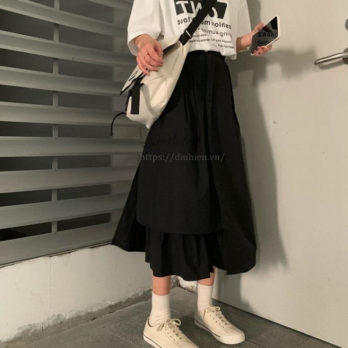 chân váy chữ a ngắn kết hợp với áo gì