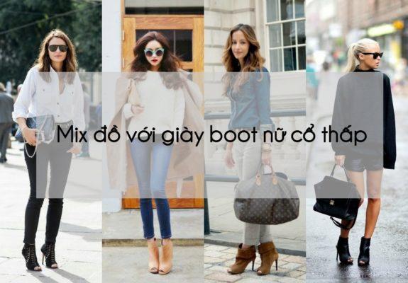 Mix đồ với giày boot nữ cổ thấp