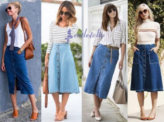 Chân váy jean dài phối với áo gì