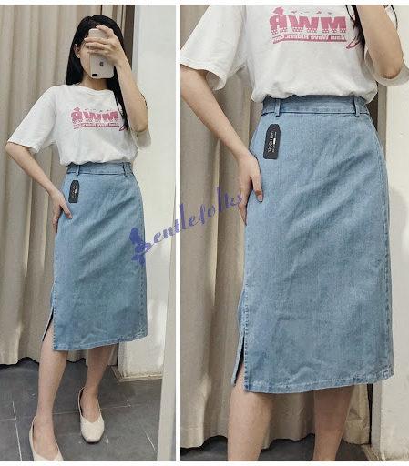 Áo phông rất dễ phối đồ nên phối với váy jean dài thì rất hợp thời trang