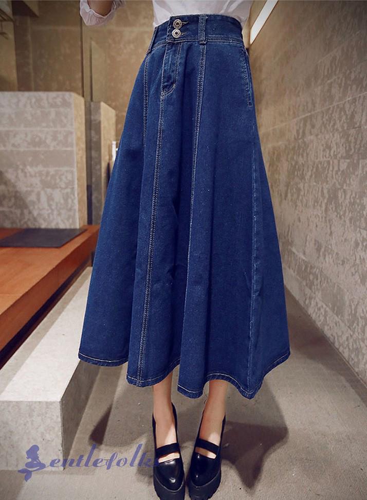 Một mẫu chân váy jean midi dáng xòe